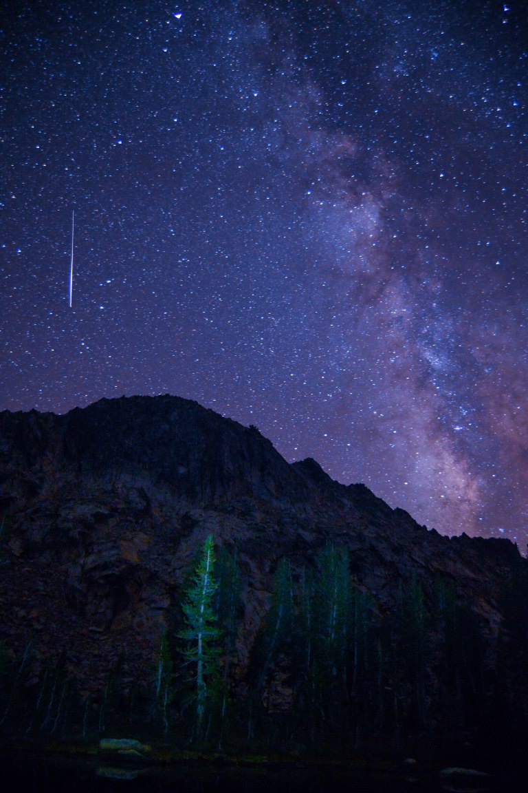 Shooting star on Lady Lake, Ansel Adams Wilderness. 2015.